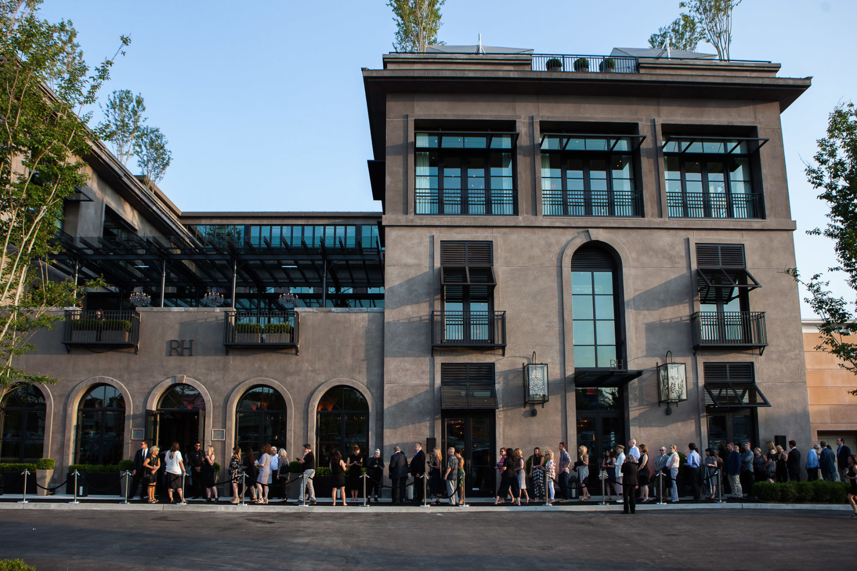Guests line up outside the recently opened RH Nashville, the Gallery at Green Hills