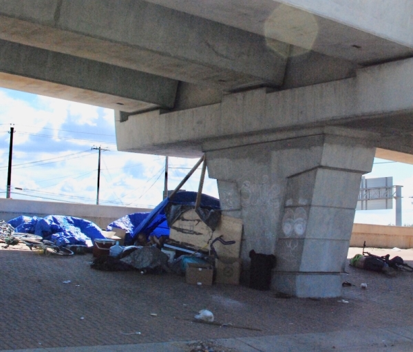 A homeless camp underneath Hwy. 290