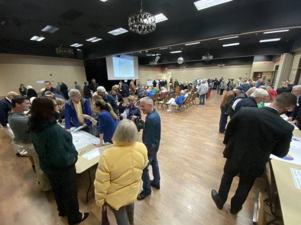 Attendees at the Oct. 29 Lakeway open house learn more about potential transportation projects throughout the city. (Brian Rash/Community Impact Newspaper)