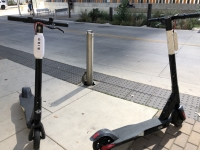 Two Bird scooters sit parked outside the Austin Central Library in downtown Austin. Jack Flagler/Community Impact Newspaper