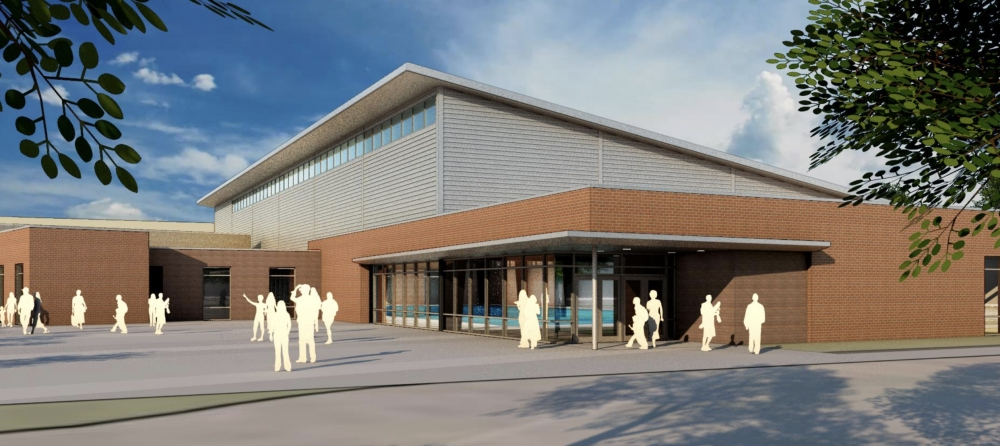 The swimming facility's pool is expected to be a duplicate of the pool at the Bruce Eubanks Natatorium on First Street. (Rendering courtesy Parkhill, Smith & Cooper, Inc., Frisco ISD)