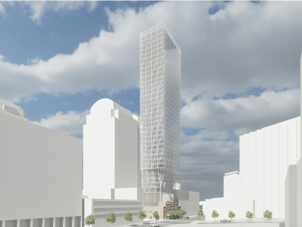 The proposal includes the addition of a roughly 30-story tower atop the Royal Arch Masonic Lodge in downtown Austin. Courtesy City of Austin