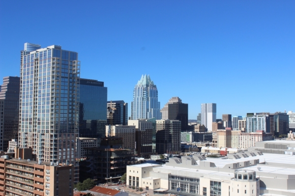 The Austin skyline with the city's convention center included.