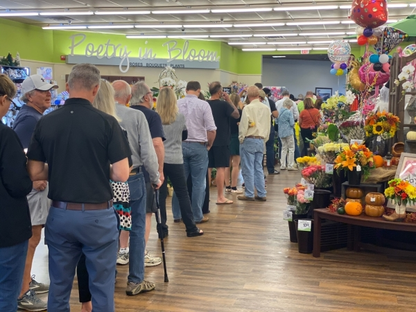 Lake Travis-Westlake residents wait in line to vote at Westlake's Randall's grocery store on Bee Caves Road. Brian Rash/Community Impact Newspaper