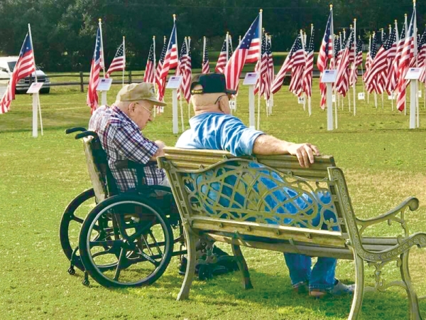 two veterans and a field full of american flags