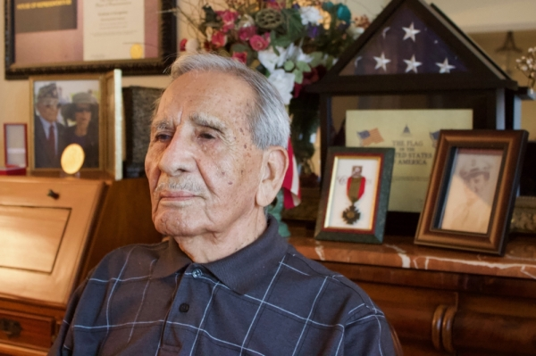 Robert Sanchez served in World Word II, the Korean War and the Vietnam War before retiring from the military. (Taylor Jackson Buchanan/Community Impact Newspaper)