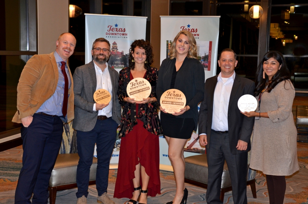 Owners of Assemblage Contemporary Craftsman Gallery, Budaful Hiker and Thatcher Natural Home Offerings receive Texas Downtown Association Awards.
