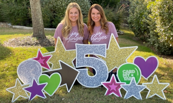 Co-founders Amy Arnold and Jessica Stanley are celebrating the five year anniversary of Card My Yard.  (Courtesy Card My Yard)