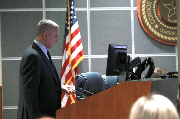 Brian Hayden presents at a Conroe ISD Audit Committee meeting Nov. 6.