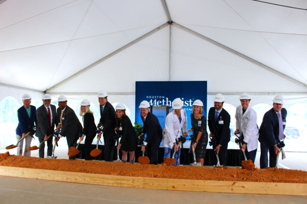 Members of Houston Methodist's leadership team and board of directors participated in a groundbreaking ceremony for a $240 million expansion of The Woodlands hospital Sept. 27. Ben Thompson/Community Impact Newspaper
