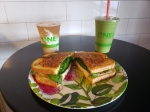 A Boars' Head Mona Lisa sandwich ($9.95) with a green machine smoothie ($7.95) and pumpkin spice kombucha float ($7.45) are a few of Hydrate's menu options. (Ali Linan/Community Impact Newspaper)