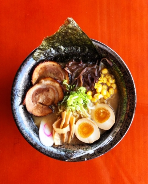bowl of tonkotsu ramen from above