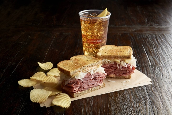 Jason's Deli sandwich and iced tea