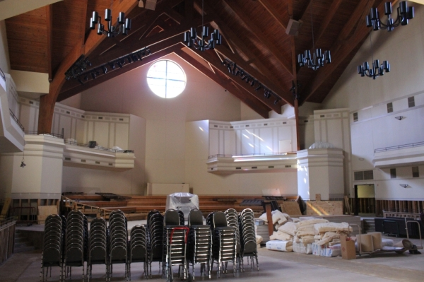 Since Hurricane Harvey flooded The Centrum with 3.5 feet of water in August 2017, restoration work continues on the performing arts center and church sanctuary more than two years later. (Hannah Zedaker/Community Impact Newspaper)