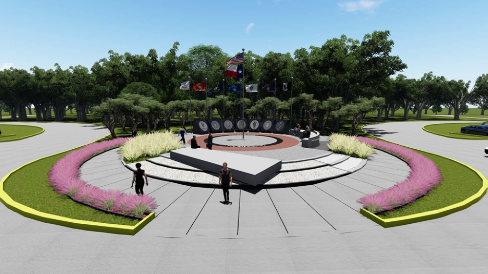 The memorial features a circular monolith design with bench seating and features flags representing the Army, Marine Corps, Navy, Air Force, Coast Guard and Merchant Marine, as well as a flag paying tribute to those who have gone missing in action or were prisoners of war. (Rendering courtesy Spring ISD)