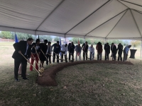 City officials, community leaders and local veterans gathered to break ground on the Missouri City Veterans Memorial on Nov. 11. (Beth Marshall/Community Impact Newspaper)