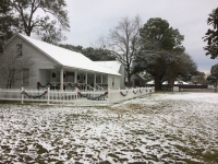 Snow fell at the Tomball Museum Center in early December 2017 (Anna Lotz/Community Impact Newspaper)
