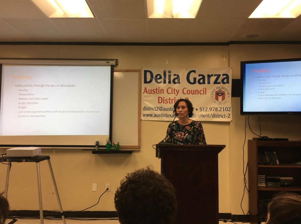 Delia Garza speaks to her constituents at a town hall meeting in 2017.
