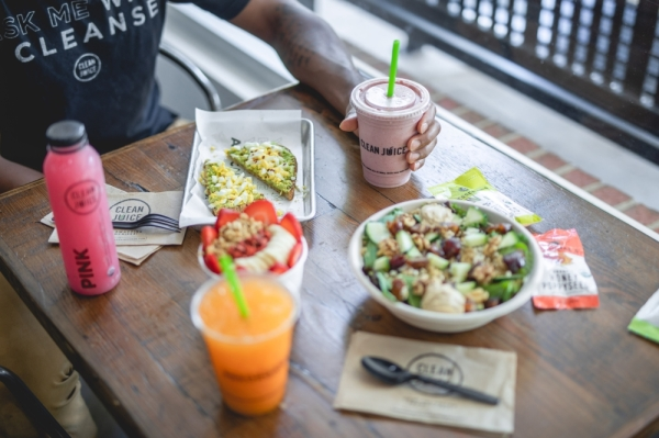 Clean Juice offers acai bowls, toasts, Greenoa, juices, cold pressed bottles and shots, lattes and protein smoothies. (Courtesy Clean Juice)