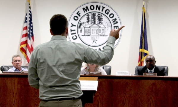 The Montgomery City Council heard how the public works department identified a potential source for its nearly 9 million-gallon leak Nov. 12. (Andy Li/Community Impact Newspaper)