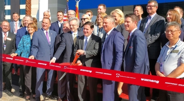 State and city dignitaries celebrated the ribbon cutting at Northrop Grumman in Chandler on Nov. 12. (Courtesy Chandler Chamber of Commerce)