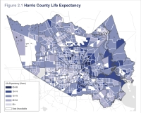 One of the major themes found in the report was a nearly 24-year range in average lifespan that varied across the county from as low as 65 years to as high as 89 years. According to the report, the Memorial/Bear Creek area has the highest average lifespan, while the East Little York/Settegast area has the lowest. (Courtesy Harris County Public Health)