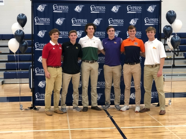 Clayton Dean, Cole Greenberg, Luke Thompson, Drue Hirth, Elliott Jones and JT Tackett signed letters of intent Nov. 13 at Cypress Christian School. (Courtesy Cypress Christian School)