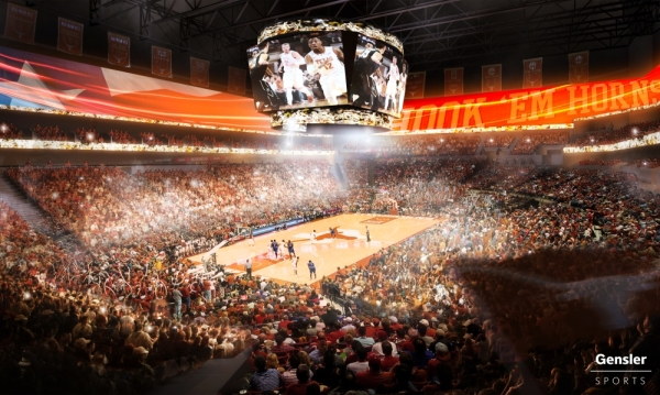 The 10,000-seat Moody Center at The University of Texas is scheduled to open in 2022. (Rendering courtesy Gensler)