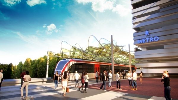 The Broadmoor Campus is proposed to have a new MetroRail station. (Rendering courtesy Brandywine Realty Trust)