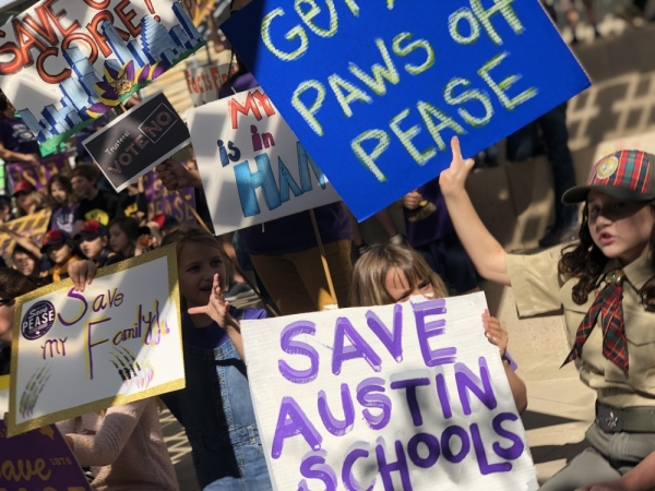 Pease Elementary students, parents and teachers walked from their school on Nov. 18 to Austin City Hall to attend a press conference urging Austin ISD trustees to postpone a vote to close four public schools. Jack Flagler/Community Impact Newspaper