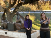 """Lakeway Arts Committee Chair Janet Wright (left) and Mayor Sandy Cox helped unveil the city's new sculpture called """"The Game"""" at a Nov. 18 event. (Brian Rash/Community Impact Newspaper)"""