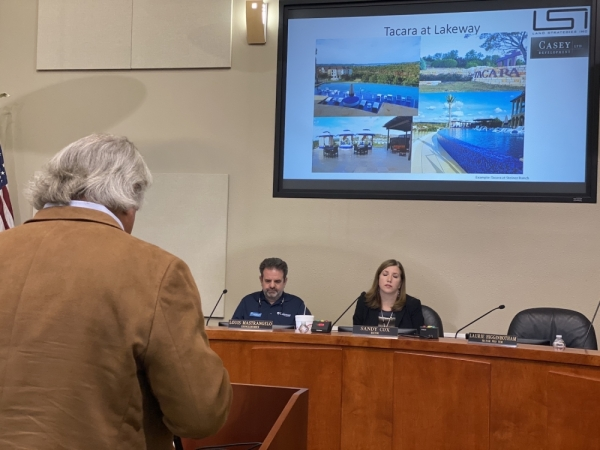 Land Strategies Inc. representative Paul Linehan made several arguments in support of the proposed development called Tacara at Lakeway during the Nov. 18 City Council meeting. (Brian Rash/Community Impact Newspaper)