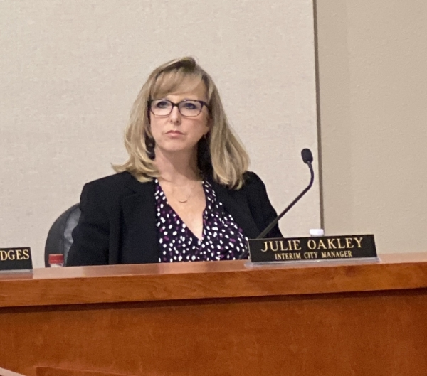 Officials came out of executive session during the Nov. 18 City Council meeting and voted unanimously to name interim City Manager Julie Oakley to the position of city manager. (Brian Rash/Community Impact Newspaper)