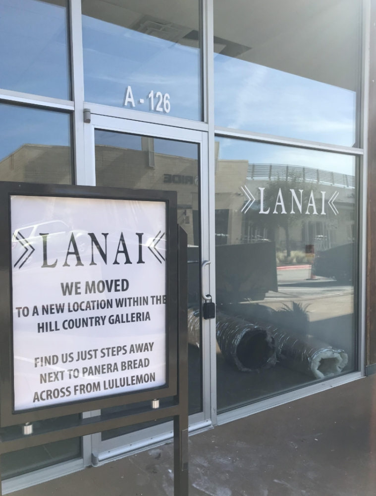 Lanai moved its storefront to a new location in the Hill Country Galleria in the end of October. (Amy Rae Dadamo/Community Impact Newspaper)