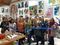 A photo of the ribbon-cutting for Mercer St Art.