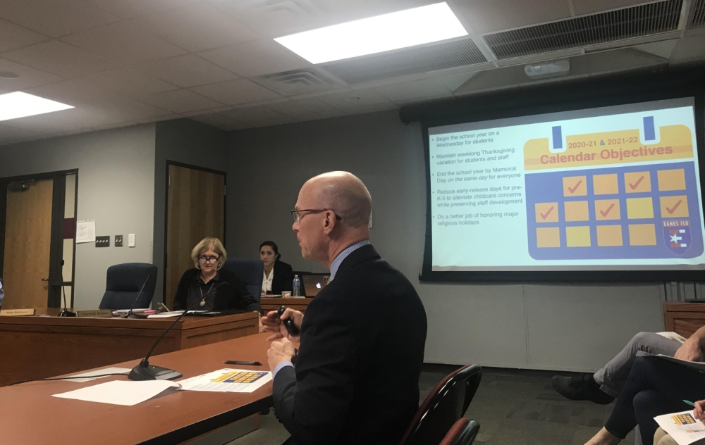 Deputy Superintendent Jeff Arnett presented the academic calendar draft to the Eanes ISD board of trustees Nov. 19. (Amy Rae Dadamo/Community Impact Newspaper)