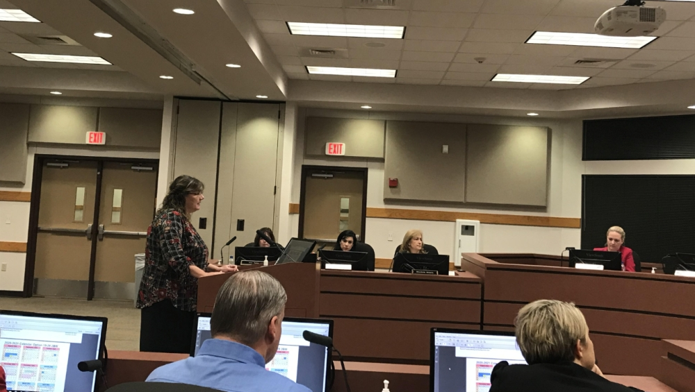 Kathy Burbank, LTISD'd director of accountability and achievement, presented a draft of the instructional calendar during a Nov. 20 regular meeting. (Amy Rae Dadamo/Community Impact Newspaper)