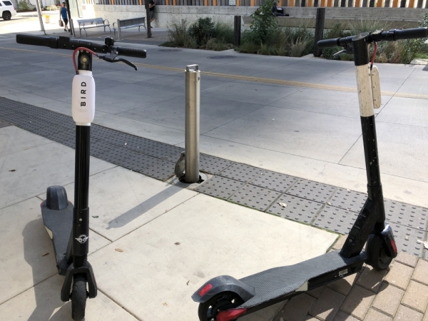 Two Bird scooters sit parked outside the Austin Central Library in downtown Austin. (Jack Flagler/Community Impact Newspaper)