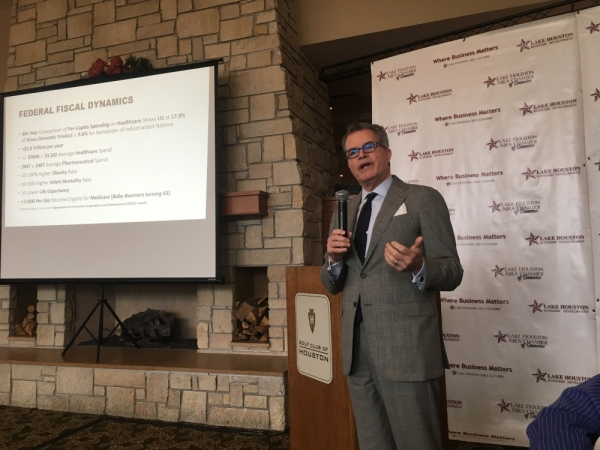 Freddy Warner, chief government relations officer at Memorial Hermann Health Systems, spoke about health care affordability and legislative challenges at the State of Healthcare luncheon Nov. 19. (Kelly Schafler/Community Impact Newspaper)