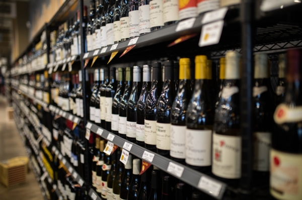 wine bottles on store shelves