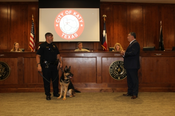 Kiko, a 2-year-old German shepherd, is the newest member of the Katy Police Department. (Nola Z. Valente/Community Impact Newspaper)