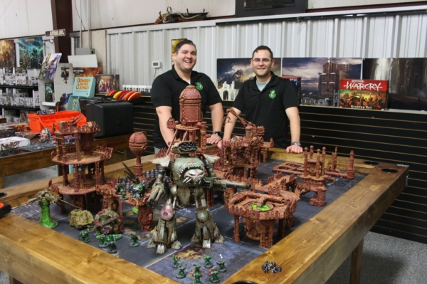 Johnathan Lindsley (left) and Ben Allred, owners of Atomic Hobby Shop, are also dedicated members of the local gaming community.