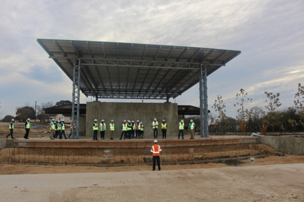 The City Park amphitheater is nearing completion. (Evelin Garcia/Community Impact Newspaper)