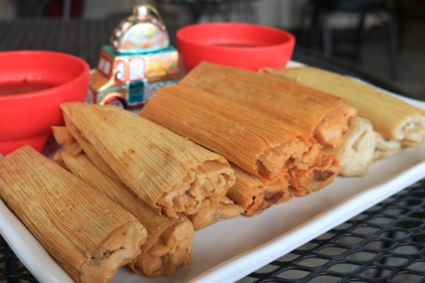 The large, handmade brisket and pork tamales (three for $6, six for $9, 12 for $16.95) are the most popular sellers. (Alex Grant/Community Impact Newspaper)