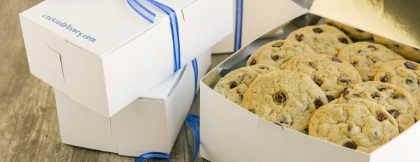 open paper box of chocolate chip cookies