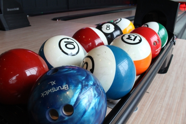 Trophy Park offers four lanes for bowling. (Elizabeth Ucles/Community Impact Newspaper)