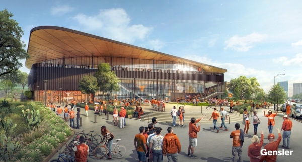 The Moody Center at The University of Texas broke ground Dec. 3 and is scheduled to open in 2022. (Rendering courtesy Gensler)