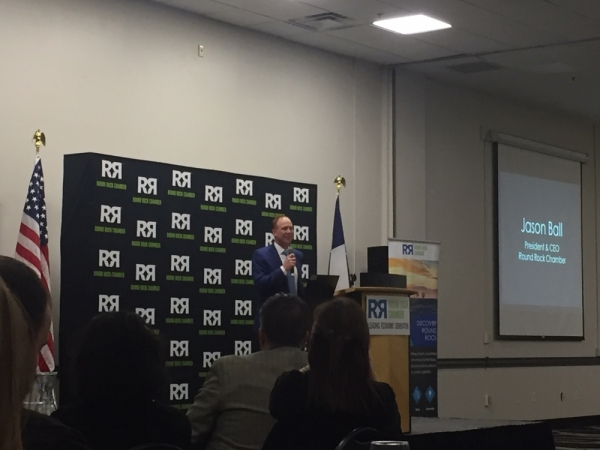 Jason Ball, Round Rock Chamber president and CEO, discussed the vision and values of the chamber as well as local trends to watch in 2020. (Taylor Jackson Buchanan/Community Impact Newspaper)