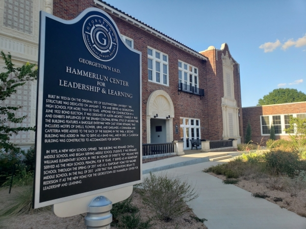 The Georgetown ISD board of trustees held their monthly meeting at the Hammerlun Center for Leadership and Learning, located at 507 E. University Ave., Georgetown. (Ali Linan/Community Impact Newspaper)