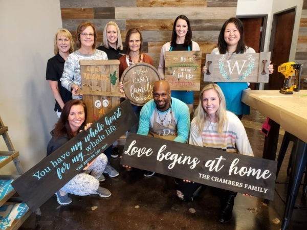 The Rustic Brush's workshops include home decor, single- and multiboard signs, door hangers, doormats and trays. (Courtesy The Rustic Brush)